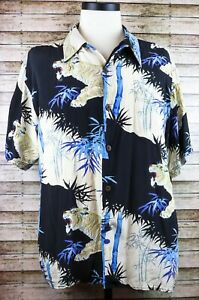 XL Avanti Hawaiian Asian White Tigers Animal Print Silk Shirt