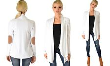 NEW LYSS LOO WOMEN'S RIBBED CARDIGAN SUEDE ELBOW PATCH SWEATER IVORY SIZE SMALL