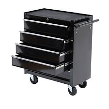 HOMCOM Five-Drawer Black Storage Cabinet Rolling Toolbox w/Four Casters