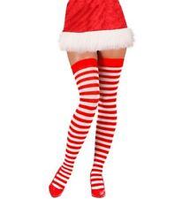 Calze Parigine A Righe Bianche Rosse Per Costume Natalizio PS 10107