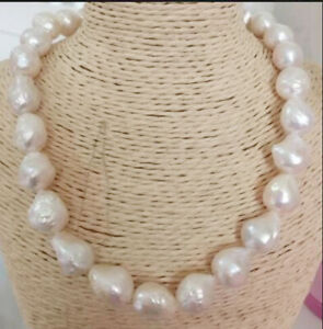 Big 13-16mm Natural South Sea Purple / White Baroque Edison Pearl Necklace AAA+