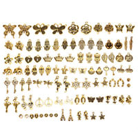 100Pcs Antique Gold Mixed Animal Flower Charms Pendant DIY Jewelry Making Craft`