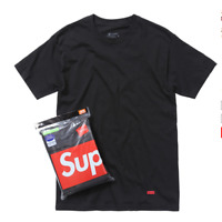 Supreme Hanes Tagless BLACK and WHITE Tee (1 T-Shirt Only)---100% Authentic