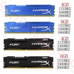 32GB 16GB 8GB 4GB DDR3 1333 1600 1866 DDR4 2133 2400Mhz For HyperX FURY Lot 777