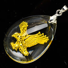 "24K Yellow Gold .999 Teardrop Eagle Hawk Crystal Pendant 1 1/2"" Jewelry"