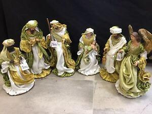 Christmas In July /Holy Family figurine  Nativity Set With Angel 38 Cm