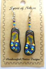 Spirit of Nature earrings small flip flops DOLPHINS water  rainbow- beads