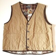 Woolrich Quilted Vest Lined Tan Brown Button Up Western Men's Size L Large NWT