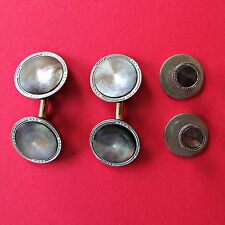 Vintage Mother Of Pearl Abalone Tuxedo Cufflinks Studs Cuff Links Shirt Signed