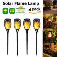 1-4PC 33LED Solar Power Torch Light Flickering Flame Garden Waterproof Yard Lamp