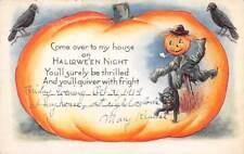 EMB HALLOWEEN INVITATION POSTCARD, JOL MAN, CAT, CROWS WHITNEY PUB dated 1919