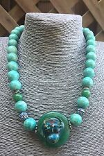 Antique Chinese Enamel Bull Ox Peking Glass Pendant Amazonite Bead Necklace