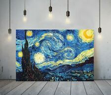 VAN GOGH STARRY NIGHT -FRAMED CANVAS PAINTING WALL ART PICTURE PAPER PRINT-BLUE