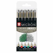 Sakura Pigma Micron 6 Fineliners Pens 01/0.25mm Assorted Basic Colors (Set of 6)