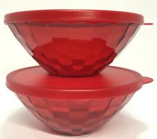 Tupperware Ice Prisms Bowls Red 10 oz. Set of 2 New