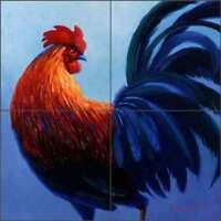 Rooster Tile Backsplash Mikki Senkarik Art Ceramic Mural MSA052
