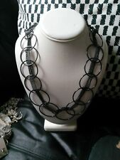 Designer style pewter coloured metal hoop ring graduated necklace