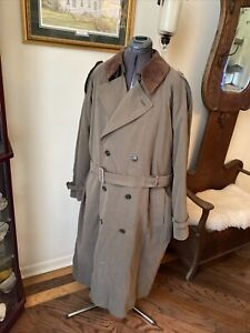 PIERRE CARDIN TRENCH COAT DOUBLE-BREASTED SUEDE COLLAR REMOVABLE LINING 46R