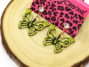 New Yellow Enamel Cute Butterfly Crystal Betsey Johnson Women Stand Earrings