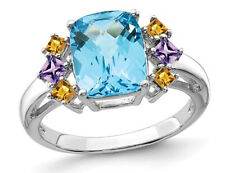 3.70 Carat (ctw) Blue Topaz, Amethyst and Citrine Ring Sterling Silver