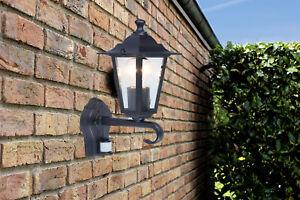 CGC PIR Motion Detector Indoor Outdoor Wall Lantern Light Black LED E27 IP44