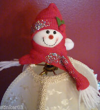 Snowman Red Lamp Shade Finial *NEW* Handcrafted by Lamp Shades Plus
