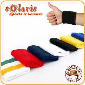 2x Cotton Sports Wristband Thick Comfortable Sweat Absorbent Elastic Wrist Towel