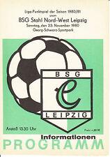 DDR-Liga 80/81 BSG Chemie Leipzig-BSG acero norte-oeste de Leipzig 23.11.1980