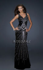 SET A SHINING EXAMPLE! BLACK FORMAL/EVENING/PROM WITH BEADING STREAMS; AU12/US10