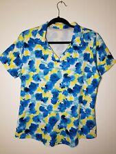 JOFIT Womens Short Sleeve Shirt Large Blue Yellow Floral Golf NWOT