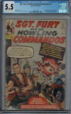 CGC 5.5 SGT FURY AND HIS HOWLING COMMANDOS #1 1ST APP NICK FURY 1963 CR/OW PAGES