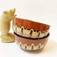 2 x  Bulgarian Pottery Troyan Glazed Stoneware Bowls  12cm Diameter