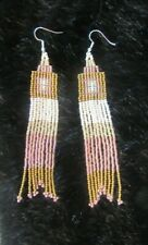 Bead Boho Style Fringe Earrings Ivory/Peach/Gold Earrings Hand Made Glass Seed