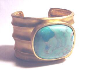 Modernist STATEMENT Glow SHIELA FAJL Turquoise HOWLITE Cuff BRACELET 18K GP $450