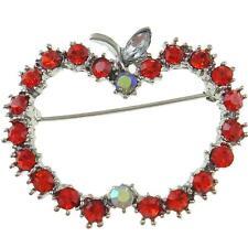 Red & Clear Aurora Borealis Rhinestone Silver Tone Teacher Apple Brooch Pin