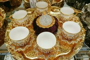 Home Turkish Kitchen Espresso Tea Set Special Presentation with Golden Tray