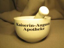 Reklame Porzellan Mörser mit Stößel : Kaiserin-Augusta Apotheke Berlin / mortar