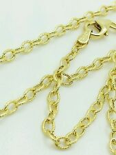 """14k Yellow Gold Textured Oval Cable Link Pendant Necklace Chain 16"""" 2.5mm"""