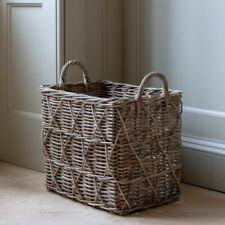 Tall Kubu Basket Log Storage Wood Planter Laundry Bin Blanket Storage Handles