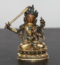 Antique Chinese Sino Tibetan gilt bronze Buddha, turquoise inlay, Qing Dynasty.