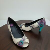 TUK Size 7 Peacock Feather Pumps Leather Slip On Heels Peep Toe Shoes
