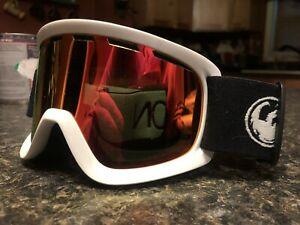 Youth Dragon Red Flame Mirrored Lens Ski Snowboard Goggles White