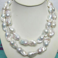 HUGE 15-28MM SOUTH SEA GENUINE WHITE BAROQUE PEARL NECKLACE 35 INCH 14K CLASP