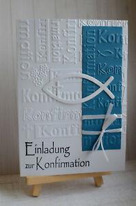 3D Einladungskarten mit Umschlag Konfirmation Fisch dunkel Blau