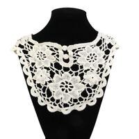 vintage style Crochet Cotton Collar Flower Neckline DIY Sewing Applique Beige