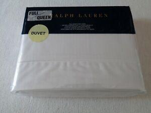 NEW RALPH LAUREN FULL/QUEEN Duvet Cover RL 624 SOLID SATEEN $355 Deco White