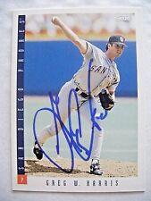 GREG W HARRIS signed PADRES TWINS 1993 Score baseball card AUTO ROCKIES ELON 599