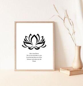 Lotus flower yoga symbolism black and white