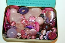 Small Tin Vintage/Antique Loose Lilac/Pink Glass/Plastic Beads Faceted Mix