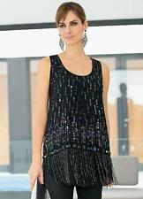 Stunning Black Beaded A line Evening Vest top Size 10 NEW *Seconds